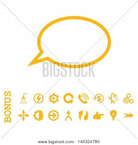 Hint Cloud glyph icon. Image style is a flat iconic symbol, yellow color, white background.