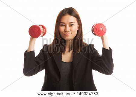 Healthy Asian Business Woman With Dumbbells.