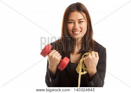 Healthy Asian Business Woman With Dumbbells And Measuring Tape.