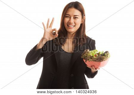 Healthy Asian Business Woman Show Ok With Salad.