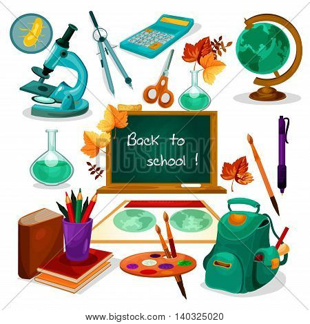 Back to school. Chalk text on green blackboard. Vector isolated icons of globe, backpack, calculator, microscope, scissors, paints, pen map copybook stationery