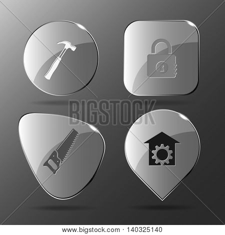 4 images: hammer, closed lock, saw, repair shop. Industrial tools set. Glass buttons. Vector illustration icon.