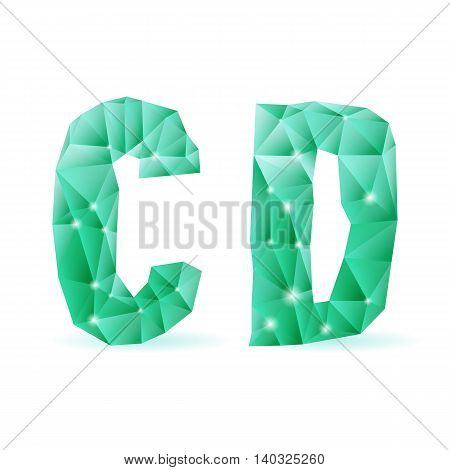 Shiny emerald green polygonal font. Crystal style C and D letters