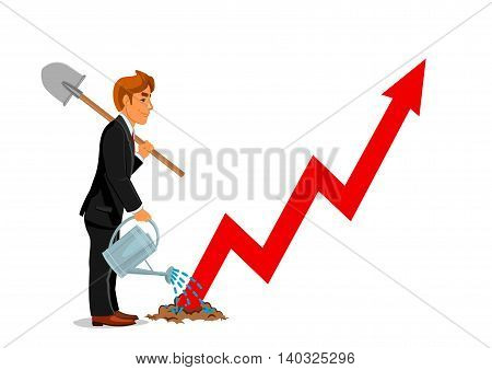 Businessman with spade and watering can. Business development and career growth concept. Manager man on way to success with red arrow graph