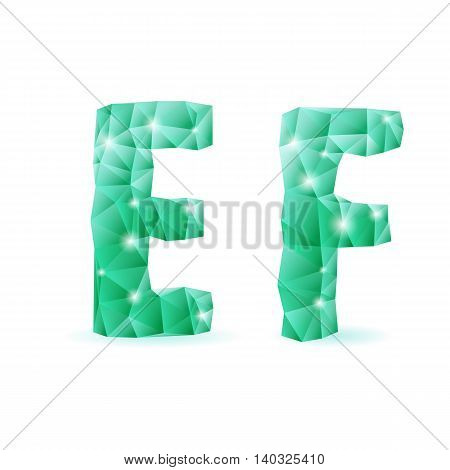 Shiny emerald green polygonal font. Crystal style E and F letters