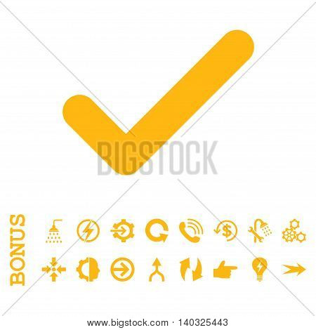 Ok glyph icon. Image style is a flat iconic symbol, yellow color, white background.