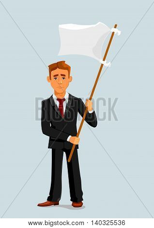 Businessman holds white flag of surrender. Capitulation and defeat business metaphor with man vector character