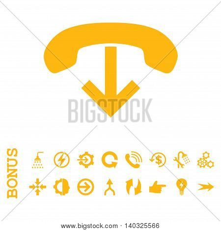 Phone Hang Up glyph icon. Image style is a flat iconic symbol, yellow color, white background.