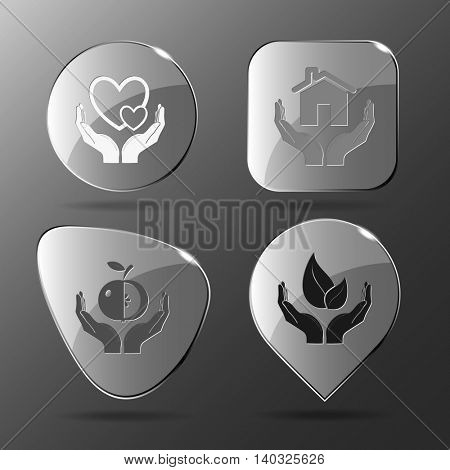 4 images: love in hands, home, apple, life. In hands set. Glass buttons. Vector illustration icon.