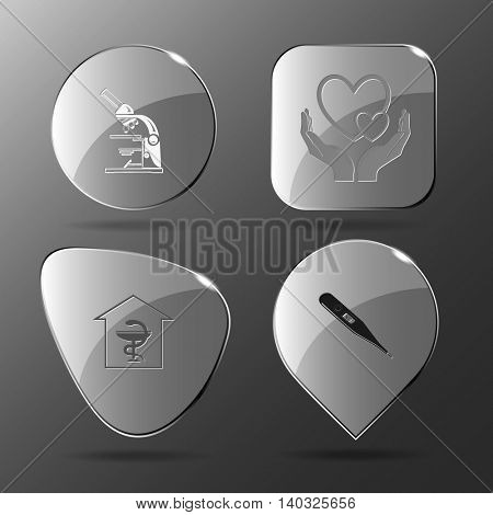 4 images: lab microscope, love in hands, pharmacy, thermometer. Medical set. Glass buttons. Vector illustration icon.