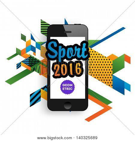 Summer sport 2016 concept template, Design for brochure, website, book or flyers. Mobile phone