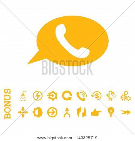 Phone Message glyph icon. Image style is a flat iconic symbol, yellow color, white background.