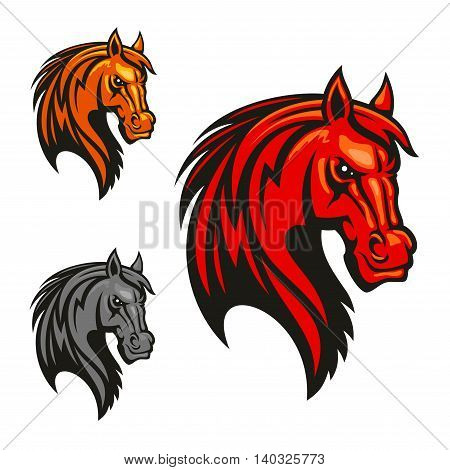 Horse stallion head icons. Powerful mustang vectro heraldic emblem for sport club emblem, team shield, badge, label, tattoo