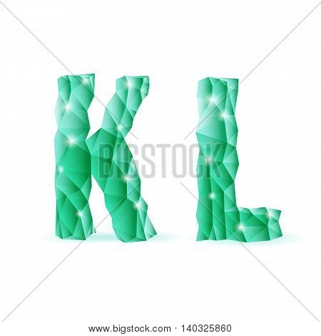 Shiny emerald green polygonal font. Crystal style K and L letters