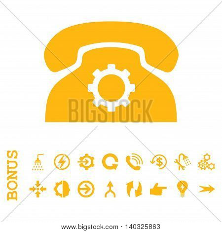 Phone Settings glyph icon. Image style is a flat pictogram symbol, yellow color, white background.