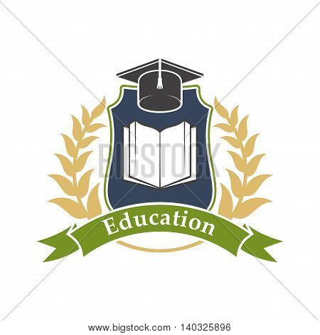 Education shield emblem with book, graduation cap, green ribbon and leaves branches. Vector label icon for university, college, high school