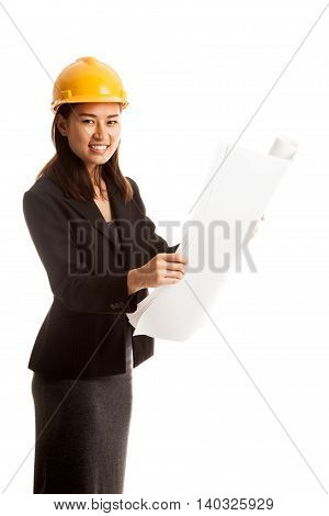 Asian Engineer Woman With Blueprints.