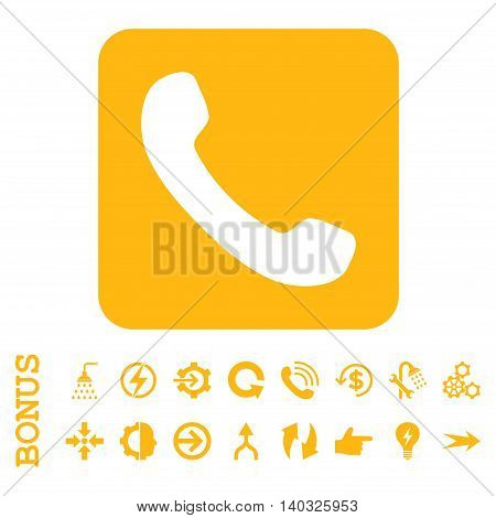 Phone glyph icon. Image style is a flat pictogram symbol, yellow color, white background.