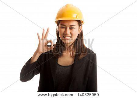 Asian Engineer Woman Show Ok Sign.