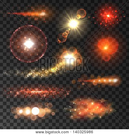 Glowing lights and flashes set. Red stars sparkling with lens flare effect on transparent background. Vector shining neon elements