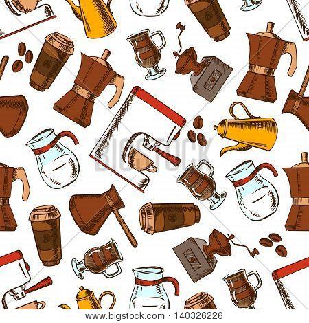 Coffee makers seamless pattern background. Vector sketch elements of retro coffee mill, turkish cezve, espresso machine, coffee grinder, moka pot, macchinetta, milk pitcher