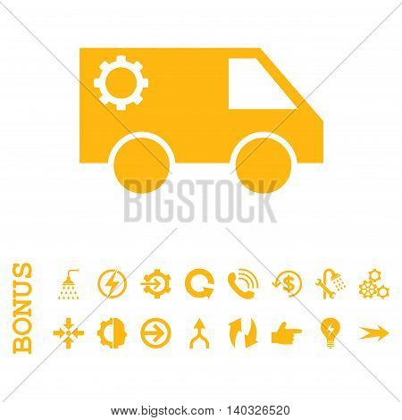 Service Car glyph icon. Image style is a flat pictogram symbol, yellow color, white background.