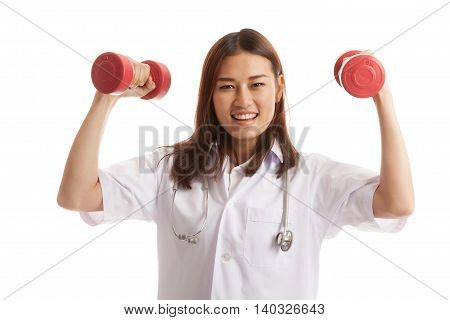 Young Asian Female Doctor With Dumbbell In Both Hands.