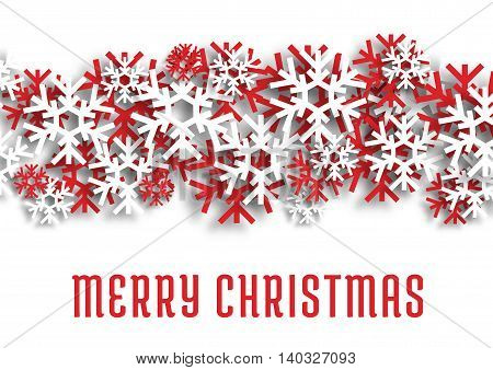 Merry Christmas greeting card. Christmas winter red and white snowflakes. Vector snowfall decoration ornament