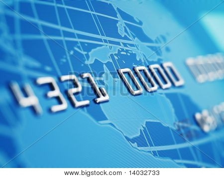 A close up of a bogus credit card Depth of field showing the numbers. Globe and credit card designed and rendered in studio.