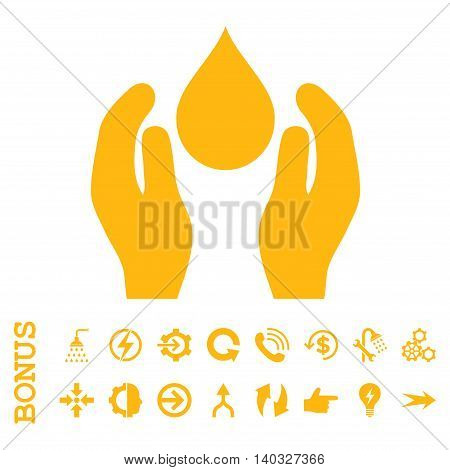 Water Care glyph icon. Image style is a flat iconic symbol, yellow color, white background.