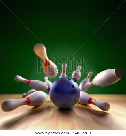 A fun 3d render of a bowling ball crashing into the pins. Extreme perspective, depth of field focus on the ball.
