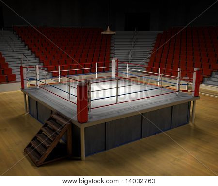 A 3d generated professional boxing ring front ropes removed. Easly place objects