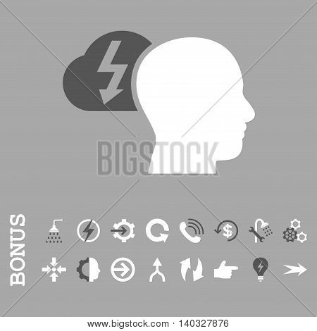Brainstorming vector bicolor icon. Image style is a flat pictogram symbol, dark gray and white colors, silver background.