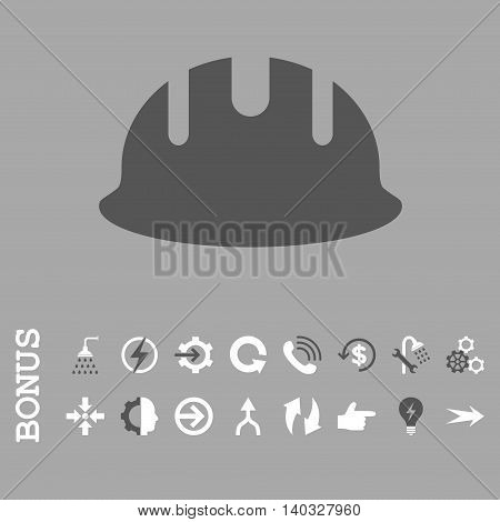 Builder Hardhat vector bicolor icon. Image style is a flat pictogram symbol, dark gray and white colors, silver background.