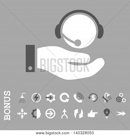 Call Center Service vector bicolor icon. Image style is a flat iconic symbol, dark gray and white colors, silver background.