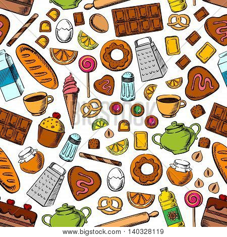 Desserts and kitchenware seamless background. Wallpaper with vector icons of sweets, cookies chocolate, biscuits, cupcakes, bread bagels, tea, coffee, milk, eggs nuts honey jam