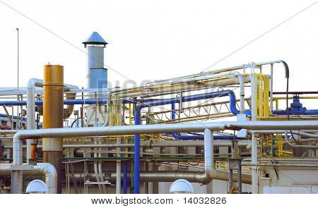 complex industrial pipes and ductwork