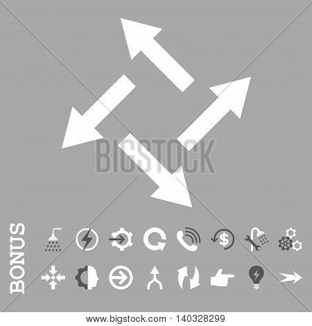 Centrifugal Arrows vector bicolor icon. Image style is a flat pictogram symbol, dark gray and white colors, silver background.