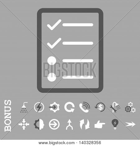 Checklist Page vector bicolor icon. Image style is a flat pictogram symbol, dark gray and white colors, silver background.