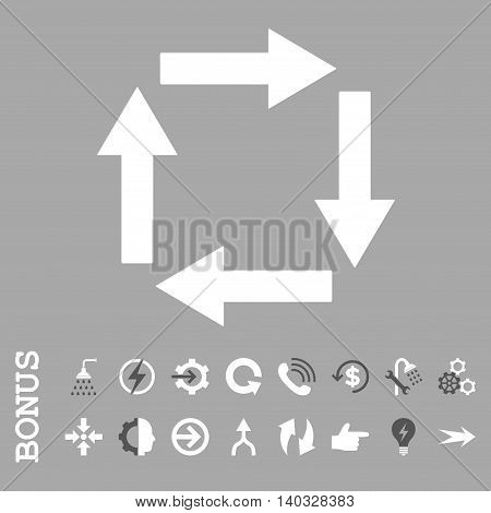 Circulation Arrows vector bicolor icon. Image style is a flat iconic symbol, dark gray and white colors, silver background.