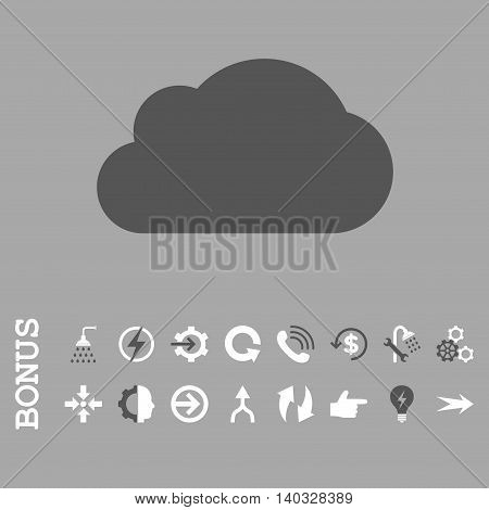 Cloud vector bicolor icon. Image style is a flat pictogram symbol, dark gray and white colors, silver background.