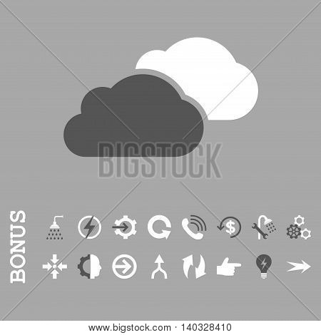 Clouds vector bicolor icon. Image style is a flat iconic symbol, dark gray and white colors, silver background.