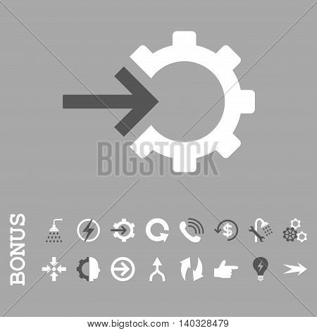 Cog Integration vector bicolor icon. Image style is a flat pictogram symbol, dark gray and white colors, silver background.