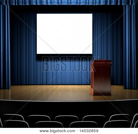 A Stage with a screen for copy and a podium.