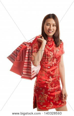 Asian Girl In Chinese Cheongsam Dress With Shopping Bag.