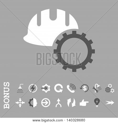 Development Hardhat vector bicolor icon. Image style is a flat iconic symbol, dark gray and white colors, silver background.