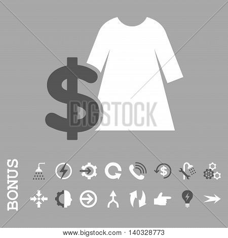Dress Price vector bicolor icon. Image style is a flat pictogram symbol, dark gray and white colors, silver background.