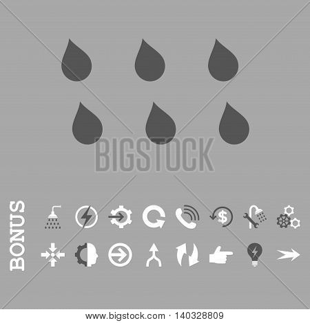 Drops vector bicolor icon. Image style is a flat iconic symbol, dark gray and white colors, silver background.