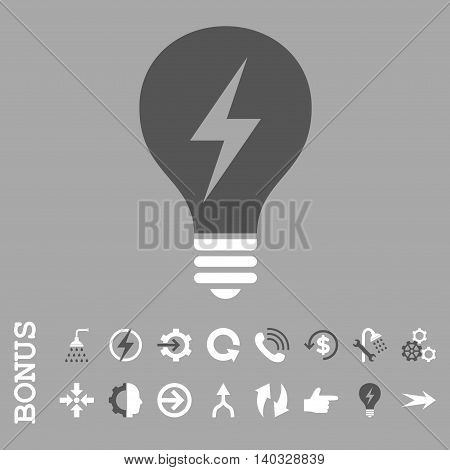 Electric Bulb vector bicolor icon. Image style is a flat iconic symbol, dark gray and white colors, silver background.