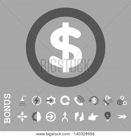 Finance vector bicolor icon. Image style is a flat pictogram symbol, dark gray and white colors, silver background.